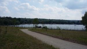 L'allée piétonne permet d'accéder au ponton handi-pêche de l'étang de la Galiotte